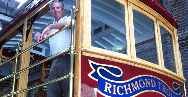 Buck Ward aboard a trolley
