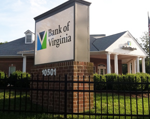 The Bank of Virginia branch at 10501 Patterson Avenue.