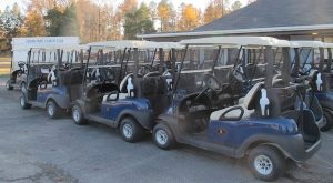 The area at Jordan Point where the golf carts are stored.