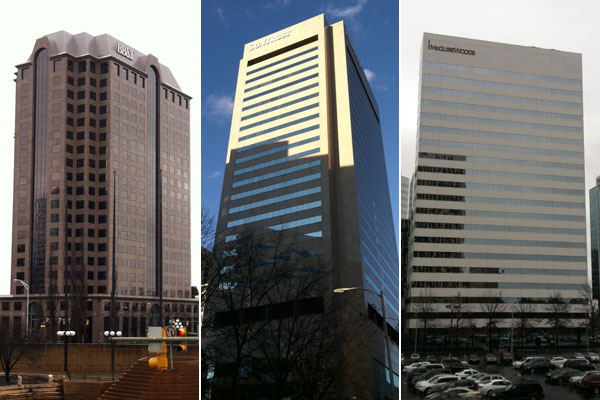This is Riverfront Plaza, left, the SunTrust Center and Riverfront Plaza. (Photos by Michael Schwartz)