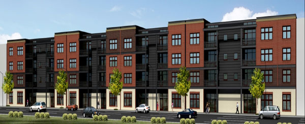 A rendering of the Hatcher Tobacco Flats, a new construction building in Manchester. (Courtesy of Genesis Properties)
