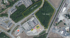 An aerial view of the Village Commons shopping center in South Chesterfield. (Courtesy of Chesterfield Commercial Realty)