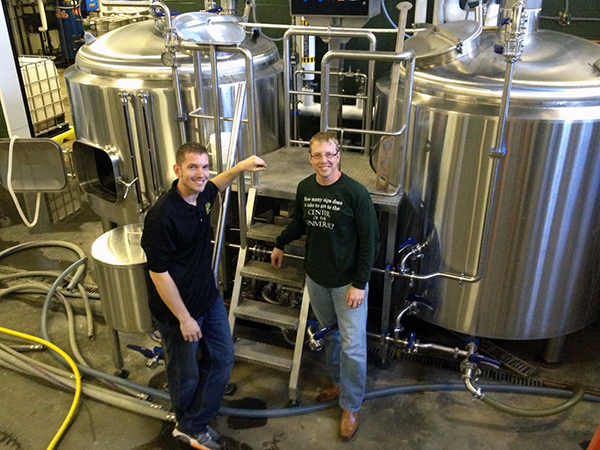Center of the Universe Brewing Co. co-founders Chris Ray, left, and Phil Ray. (Photo by Lee Graves)