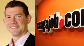 Shawn Boyers, left, and the Snagajob logo