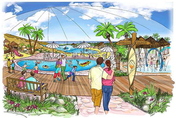 A conceptual drawing of the planned Point Break Surf Park. (Courtesy of Walter Bennett)