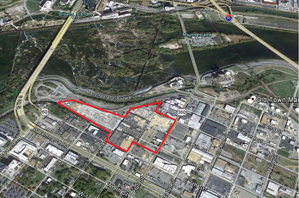 An aerial view of the former Reynolds South plant. (Via Google Earth)