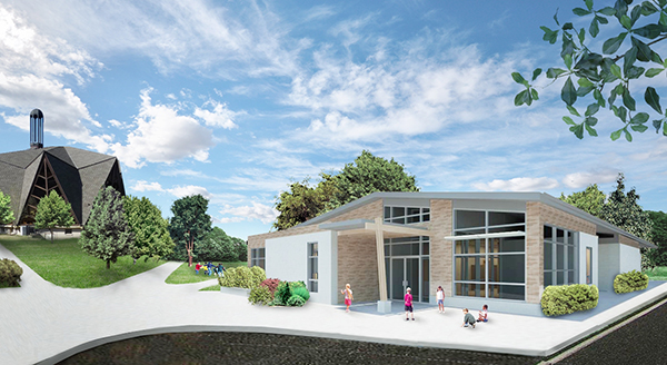 A rendering of the school's planned new academic building. (Courtesy of the Richmond Montessori School)