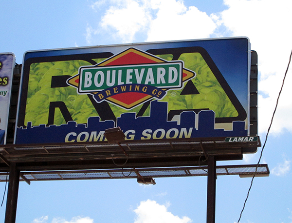 Boulevard Brewing Co. graces a billboard -- where else? -- on Boulevard near Movieland. (Photo by Michael Schwartz)