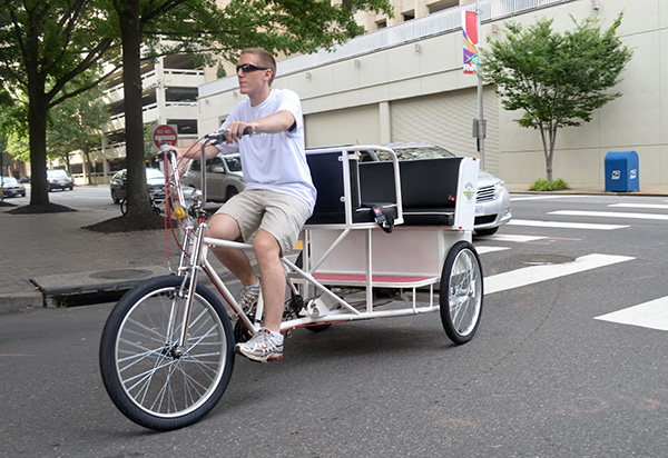 Spoken4's pedicabs can handle up to five passengers. (Photos by Mark Robinson)
