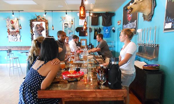 The tasting room at Strangeways Brewing Co.