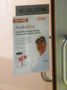 An Anatabloc ad on the door to Star Scientific's office.