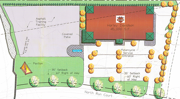 Plans for Richmond Harley-Davidson's new location call for an event space. (Click to enlarge)