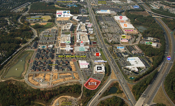 An aerial of the future site of Richmond's first Golfsmith. (Images courtesy of NAI)