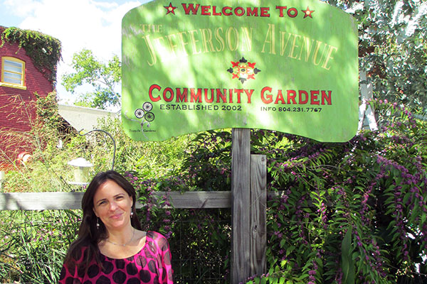 Tricycle Garden director Sally Schwitters at the Jefferson Avenue Community Garden. (Photo by Michael Thompson)