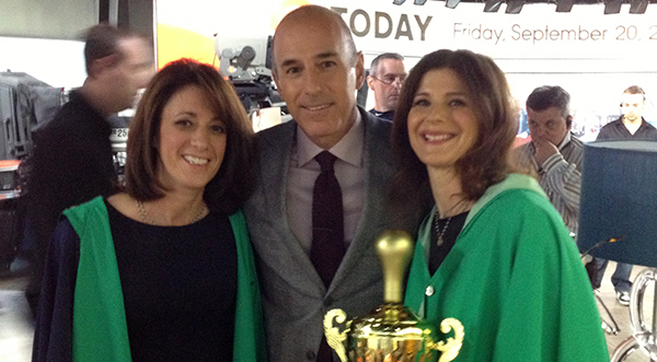 """Rachel Teyssier, Matt Lauer and Stacey Struminger during a """"Today Show"""" appearance. (Courtesy of Rainraps)"""