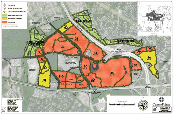 The highlighted areas show Riverstone's holdings that encompass CenterPointe. (courtesy of Riverstone Group)