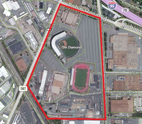 The city owns the entire area in red, with the exception of the Sports Backers Stadium just south of the Diamond.
