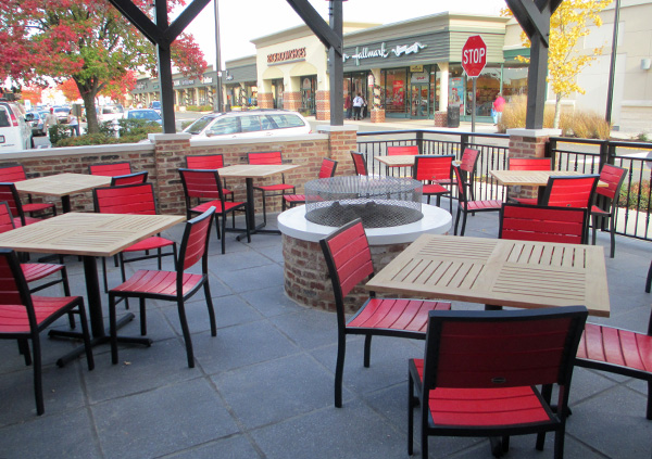 The restaurant's patio and fire pit.