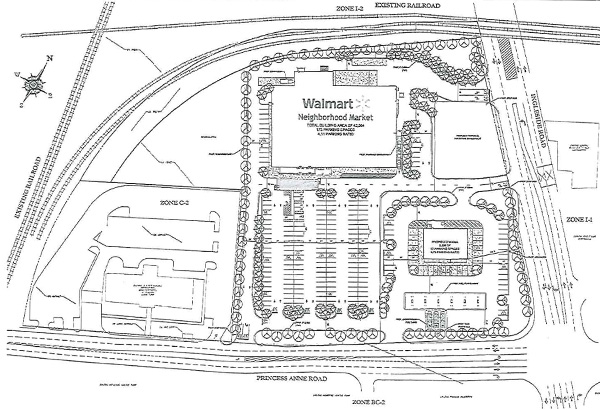 The site map for Blackwood Development's planned retail project. [Click to enlarge]