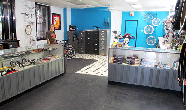 Cyclus Bike Shop's display cases came from Pibby's. (Photos by Michael Thompson)