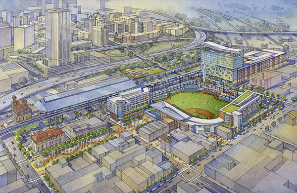 A rendering of the proposed Shockoe Bottom development. (Courtesy of the City of Richmond)