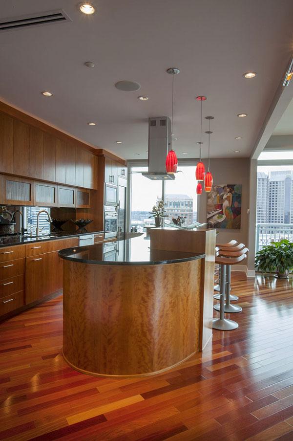 The condo features a contemporary kitchen.