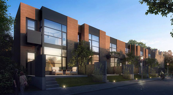 A rendering of the planned row houses at 2615-2619 Floyd Ave. (Courtesy of Bill Chapman)