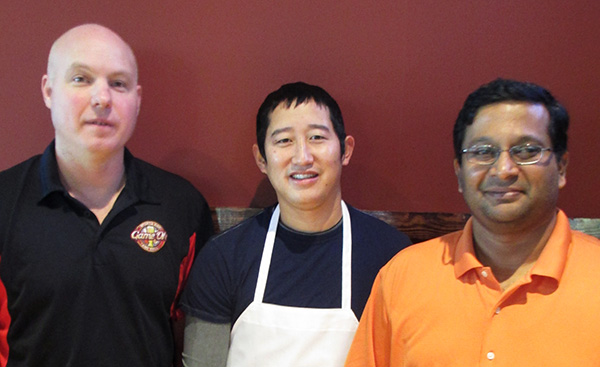 Game On manager Lonnie Leslie, left, chef Taylor Hasty and co-owner Yash Reddy.