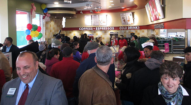 Krispy Kreme's opening drew about 700 customers in five hours. (Photos by Burl Rolett)
