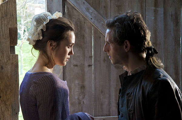 Actress Heather Lind, playing Anna Strong, films a scene with Jamie Bell, playing Abraham Woodhull. (Photo by Antony Platt/AMC)