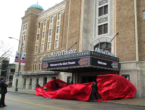 The Altria Theater's new marquee is unveiled. (Photo by Michael Schwartz)