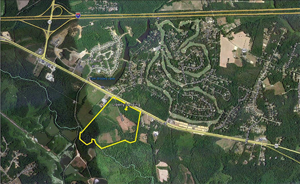 Liberty Landing is planned for 112 acres off Route 60 in Bottoms Bridge. (Image courtesy of Boyd Homes)