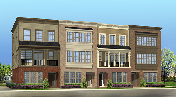 A rendering of the townhouses planned for Rockett's Landing. (Courtesy of HHHunt)