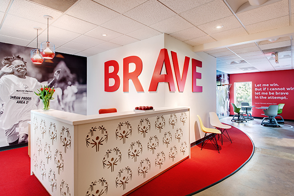 The new reception area at Special Olympics Virginia. (Photo by Ansel Olson)