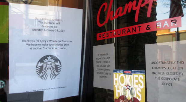 Starbucks, left, and Champps Americana recently posted closing notices. (Photos by Burl Rolett)