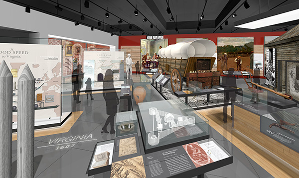 "A rendering of the updated ""Story of Virginia"" exhibition. (Illustrations by Brent Johnson Design)"