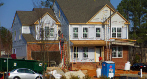 A house under construction in Stable Hill neighborhood is one of many subdivisions with new houses in the works. (Photo by Brandy Brubraker.)