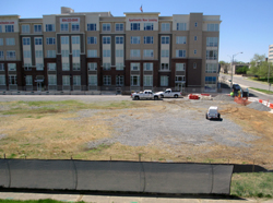 The current lot where 800 Semmes will go up. (Photo by Burl Rolett.)