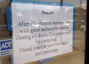 The sign announcing Butterfly's closing.