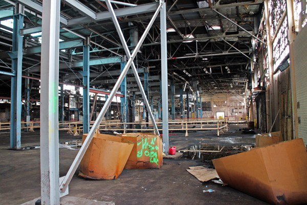 The Reynolds South warehouse property has been almost completely gutted to make room for apartments, but the developer may use the space for Stone Brewing Co. Photos by Evelyn Rupert.