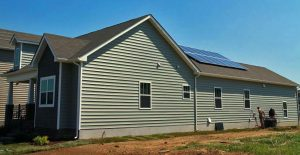 The roof solar panels will provide power to the 45 homes.