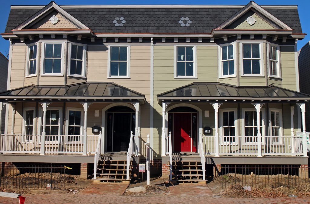 Two early 20th century-style town houses have replaced an anachronistic home in Church Hill. Photos by Katie Demeria.