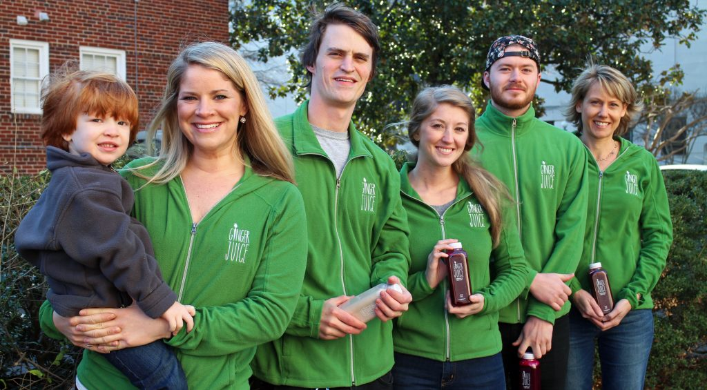 From left: Sayer Brumfield, owner Erin Powell, juicer Chris Dawson, production manager Nicole Anderson, juicer Nils Nelson, director of operations Ronna Nouri