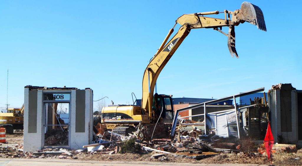Demolition of the Shenandoah Shutters building in full swing about two weeks ago. Photo by Katie Demeria.
