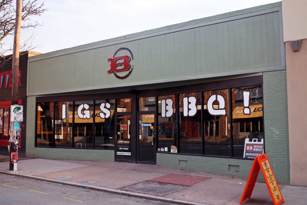 The former Bigs BBQ space on West Grace is set for a new restaurant tenant. Photos by Michael Thompson.