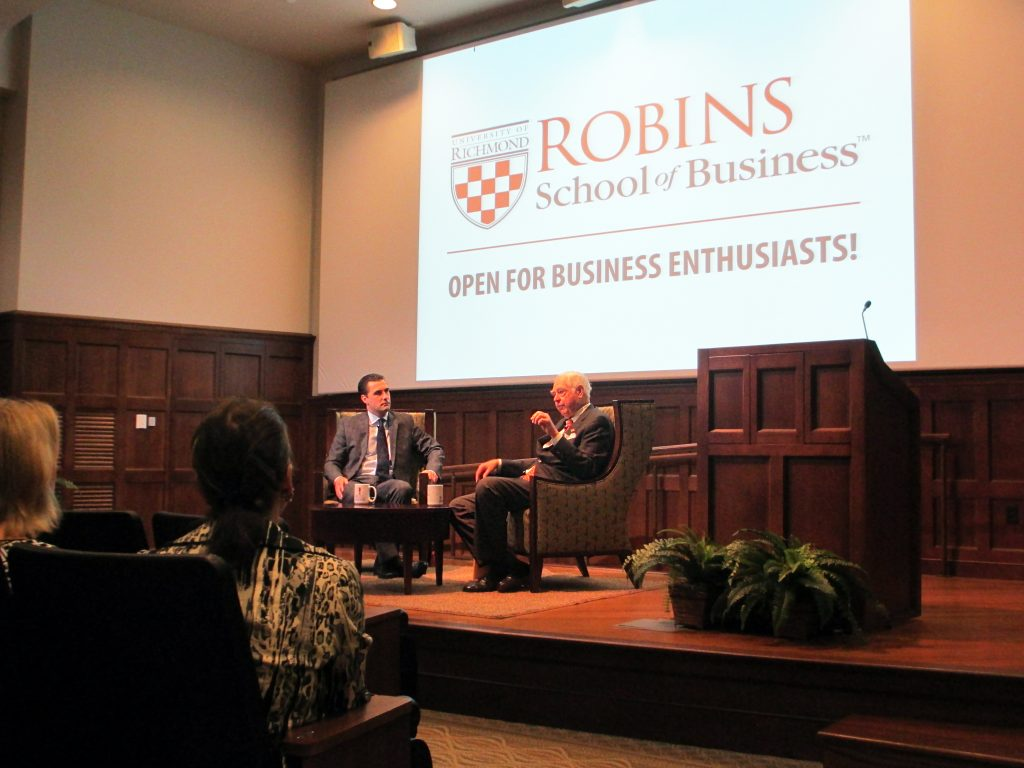 Bill Goodwin participated in UR's C-Suite Conversation guest speaker series on Thursday. Photos by Jonathan Spiers.