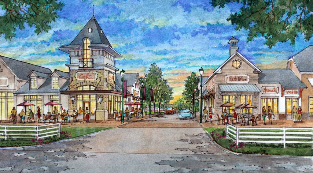 A local developer is planning an English village-style development in Mechanicsville. Images courtesy of Edge Development Partners.