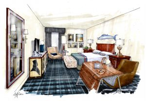 A rendering of a room in the Charlottesville Graduate Hotel.