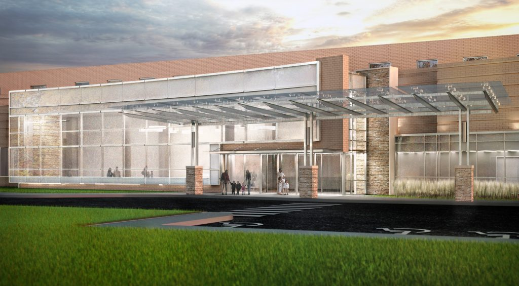 Upgrades to Henrico Doctors' Hospital includes a separate entrance for the women's center. Rendering courtesy of Tommy Ladd.