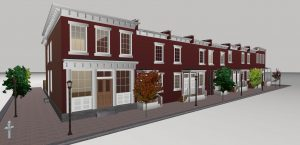 The project will restore seven rowhouses and a former store and will add on a new home. Rendering courtesy of